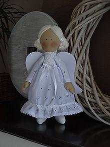 Bábiky - Madeirový biely anjel - 10188579_