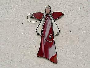 Dekorácie - Anjelik s minerálom (červený s ruženínom) - 10189311_