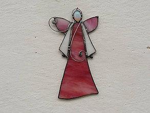 Dekorácie - Anjelik s minerálom (ružový s opalitom) - 10189313_