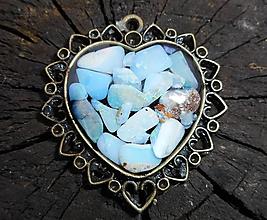 Náhrdelníky - vintage heart with opals - 10190873_