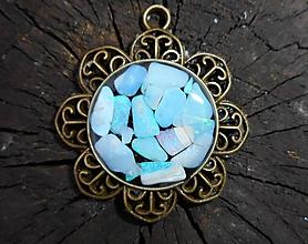 Náhrdelníky - flower with opals - 10191224_