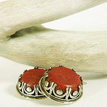 Náušnice - Stříbrné náušnice s korálem Enn - 10189253_