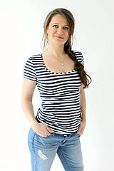 Tehotenské/Na dojčenie - BAMBUS - 3v1 tričko pre tehotné, dojčiace, nedojčiace - kr. rukav - XS-M -viac farieb - 10188260_