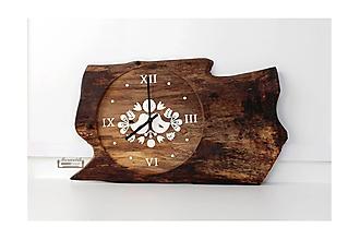 Hodiny - Orechové hodiny s ľudovým ornamentom - 10189556_