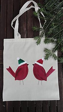 Nákupné tašky - maľovaná taška - vianočné vtáčence - 10189421_