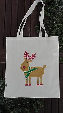 Nákupné tašky - maľovaná taška - vianočný sob - 10189439_