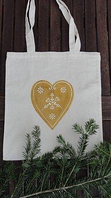Nákupné tašky - maľovaná taška - medovníkové srdce - 10189456_