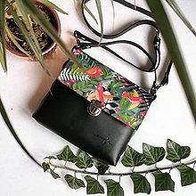 Kabelky - Kožená kabelka (ručne maľovaná Birds) - 10189123_
