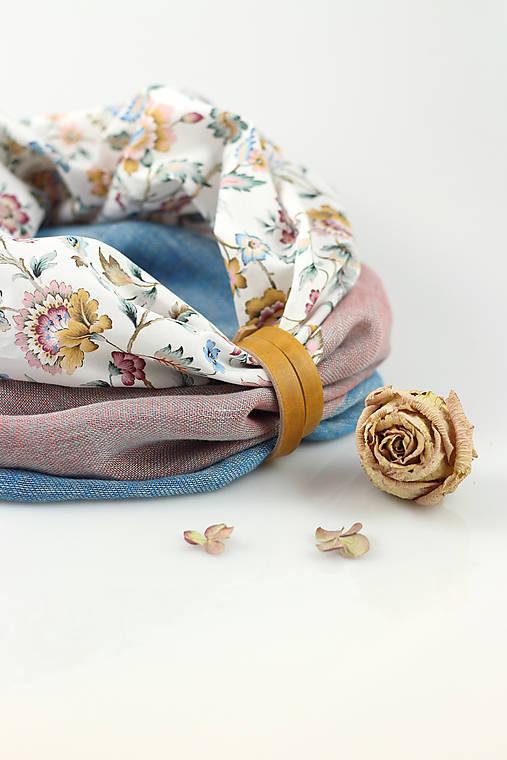 Pôvabný dámsky kvetinový ľanový nákrčník