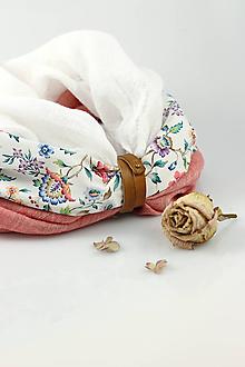 Šály - Exkluzívny dámsky ľanový nákrčník s kvetinovou bavlnou