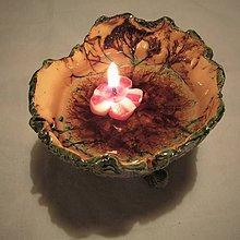 Svietidlá a sviečky - svietnik-miska zeleno fialkový - 10190214_