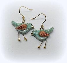 Náušnice - Keramické náušnice - Vtáčiky - 10188464_