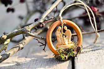 Dekorácie - betlehem na drevenom krúžku - 10191065_