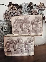 Dekorácie - Anjelici na lavičke - 10191361_