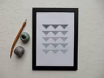 Obrázky - Vyšívaný obrázok - Trojuholníky mint - 10190431_