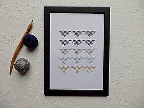 Obrázky - Ručne vyšívaný obrázok - Trojuholníky modré - 10190415_
