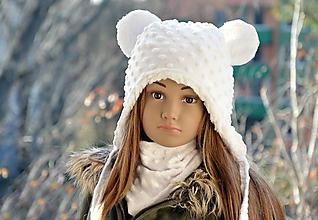 Detské čiapky - Zimná čiapka macko Minky - 10191377_