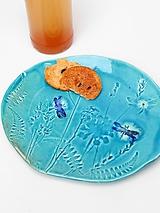 Nádoby - misa tanier tyrkysový s vážkou - 10189517_
