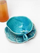 Nádoby - Šálka s vtáčikom s tanierikom tyrkysová - 10189621_