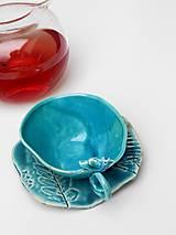 Nádoby - Šálka s vtáčikom s tanierikom tyrkysová - 10189622_