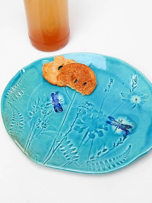 misa tanier tyrkysový s vážkou