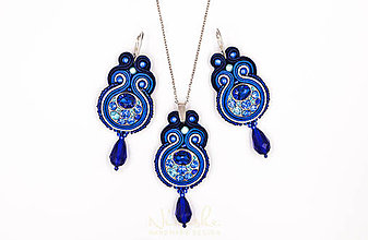 Sady šperkov - Into the blue - soutache set - 10190044_
