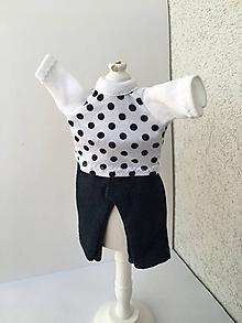 Hračky - Bodkované tričko a legíny pre bábiky 25-27 cm. - 10190024_