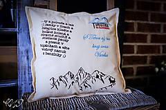 Úžitkový textil - Vankúšik hory s vlastným textom No.1 - 10193494_