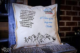 Úžitkový textil - Vankúšik hory s vlastným textom - 10193494_