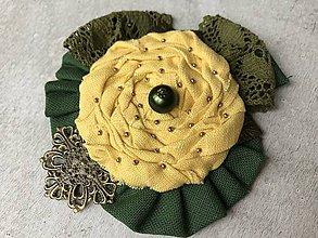 Odznaky/Brošne - Brošňa / Zeleno-žltý kvet - 10194443_