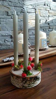 Dekorácie - Adventný svietnik - jednoduchý brezovníček s machom:-) - 10192815_