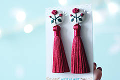 Náušnice - Náušnice so strapcom a vyšívanými ružami - 10191654_