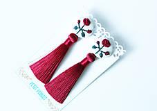 Náušnice - Náušnice so strapcom a vyšívanými ružami - 10191655_