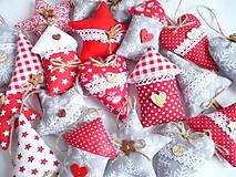 Dekorácie - Vianočné ozdoby červeno-šedé - 10192704_