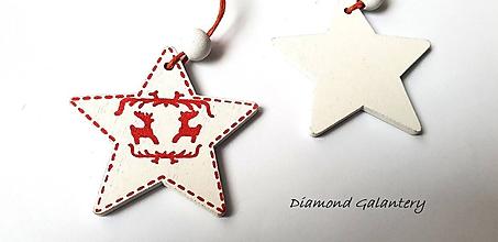 Galantéria - Drevený závesny výlisok - Hviezdička biela - jednostranný - 10192659_