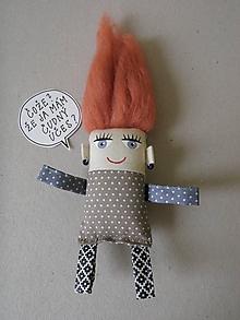 Magnetky - Dievčatko - textilná magnetka - 10192758_