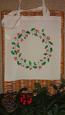 Nákupné tašky - maľovaná taška - vianočný venček - 10194356_