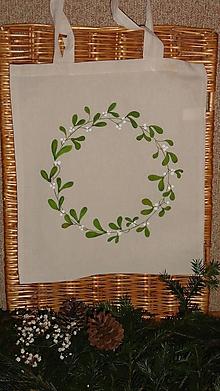 Nákupné tašky - maľovaná taška - vianočný venček (imelo) - 10194363_