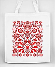 Nákupné tašky - Nákupná taška ľudový motív kvety a vtáky 07 - 10194631_