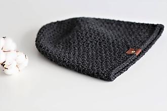 Doplnky - ...pánska čiapka 100% MERINO vlna  (tmavá šedá/antracit) - 10194925_