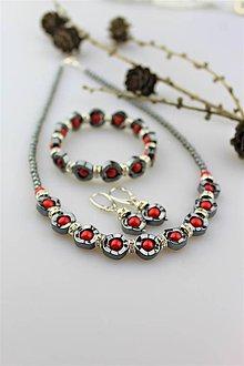 Sady šperkov - hematit a koral náhrdelník, náušnice, náramok - 10192712_