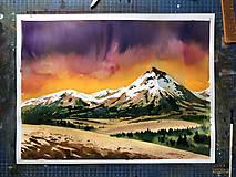 Obrazy - Západ slnka v horách - akvarelová maľba, originálny obraz - 10192744_