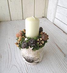 Svietidlá a sviečky - Vianočný svietnik prírodný - 10192425_