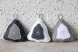 Dekorácie - Vianočné trio (zvonček) - strieborné - 10192574_