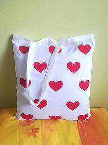 Nákupné tašky - nákupná taška biela - srdiečková - 10192447_