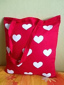 Nákupné tašky - nákupná taška červená - srdiečková - 10192448_