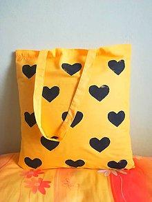 Nákupné tašky - nákupná taška žltá - srdiečková - 10192460_