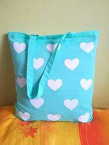 Nákupné tašky - nákupná taška tyrkysová - srdiečková - 10192464_