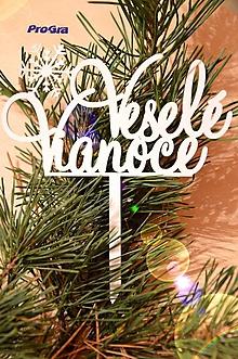 Dekorácie - Veselé Vianoce s vločkou - biely zápich - 10191475_