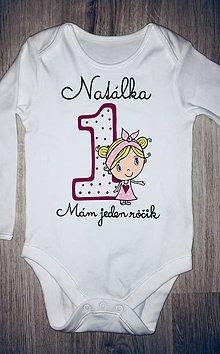 Detské oblečenie - Narodeninové body s menom a dievčatkom - 10191597_